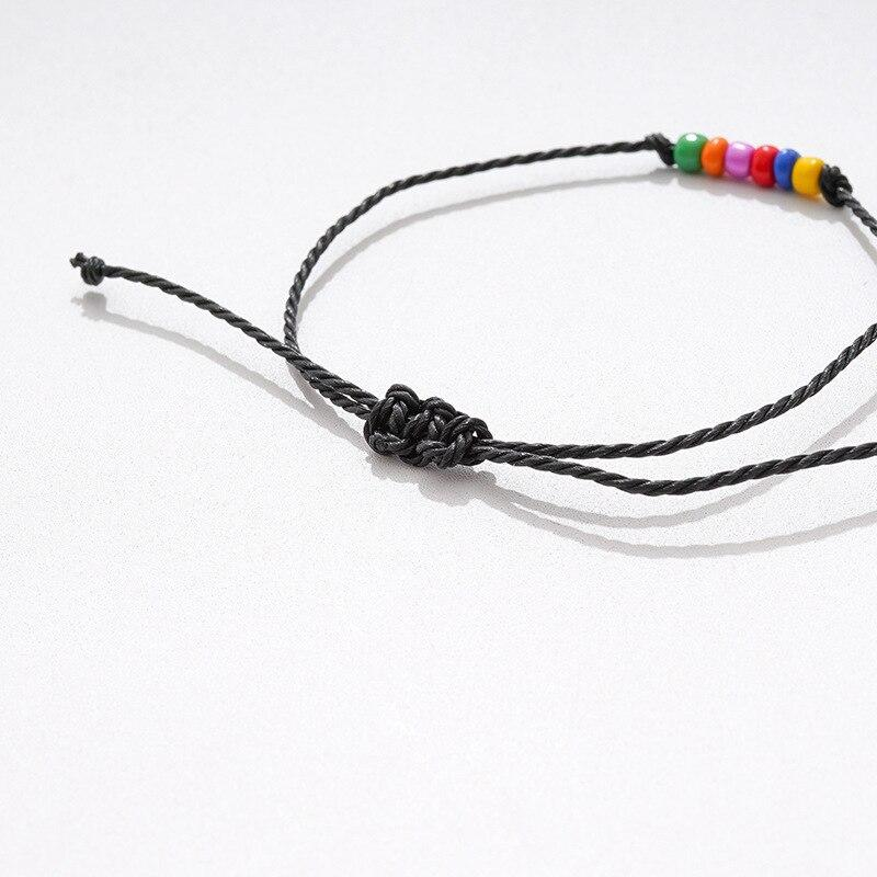 2 Pcs/set Handmade Rainbow LGBT Rope Bracelet For Women Men Braided Sead Beads Adjustable Bracelet Couple Love Jewelry Gift - Bracelets
