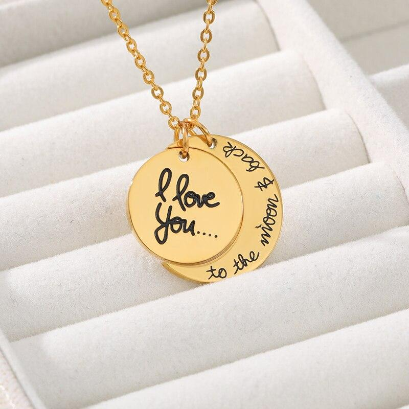2pcs I Love You To The Moon and Back Couple Necklace Sun Moon Matching Letter Necklace Love Jewelry Collier Femme - Pendants