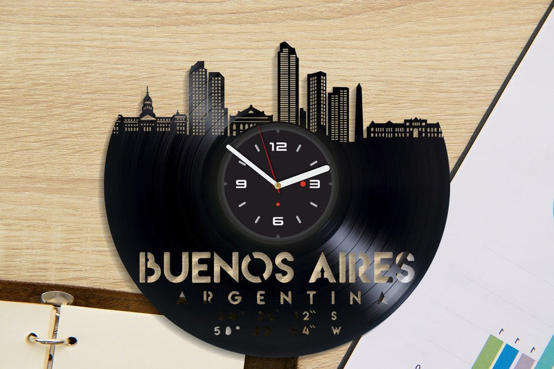 Vinil Clock buenos aires, Wall Clock, Vinyl Art, Wall Art, Christmass Gift, Home Decor Clock, buenos aires 3027