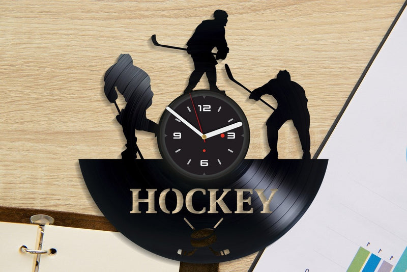 Vinil Clock hockey, Wall Clock, Vinyl Art, Wall Art, Christmass Gift, Home Decor Clock, hockey 4261
