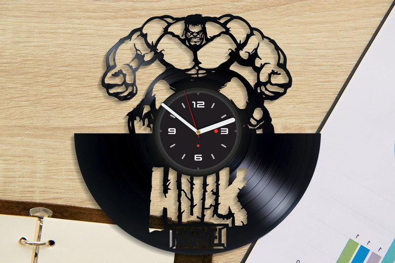 Vinil Clock hulk, Wall Clock, Vinyl Art, Wall Art, Christmass Gift, Home Decor Clock, hulk 421