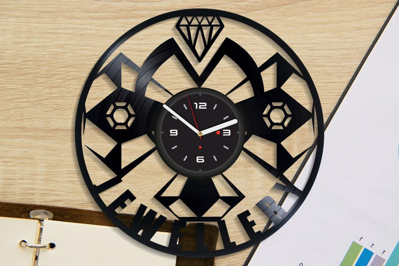 Vinil Clock jewellery, Wall Clock, Vinyl Art, Wall Art, Christmass Gift, Home Decor Clock, jewellery 1111