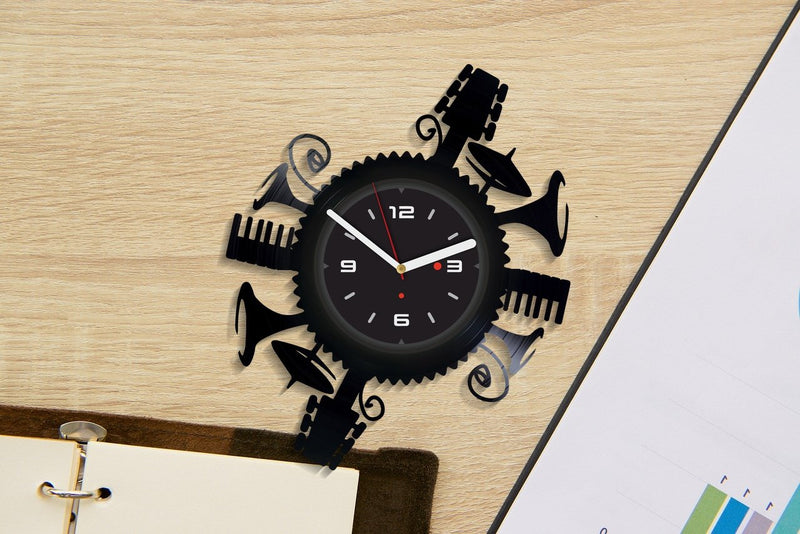 Vinil Clock music instruments, Wall Clock, Vinyl Art, Wall Art, Christmass Gift, Home Decor Clock, music instruments 626
