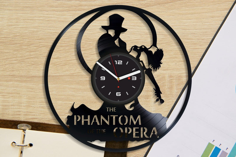 Vinil Clock phantom opera, Wall Clock, Vinyl Art, Wall Art, Christmass Gift, Home Decor Clock, phantom opera 2127