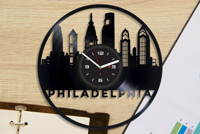 Vinil Clock philadelphia, Wall Clock, Vinyl Art, Wall Art, Christmass Gift, Home Decor Clock, philadelphia 2128