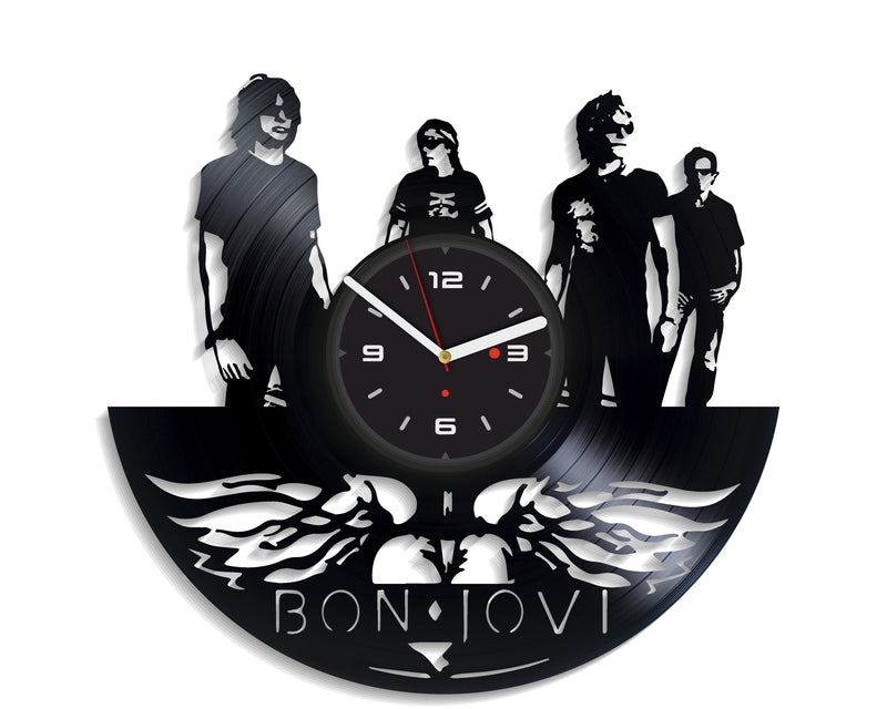Vinil Clock bon jovi, Wall Clock, Vinyl Art, Wall Art, Christmass Gift, Home Decor Clock, bon jovi 135