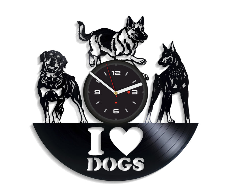 Vinil Clock dogs, Wall Clock, Vinyl Art, Wall Art, Christmass Gift, Home Decor Clock, dogs 4151