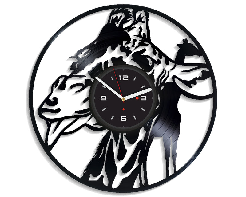 Vinil Clock giraffe, Wall Clock, Vinyl Art, Wall Art, Christmass Gift, Home Decor Clock, giraffe 3096