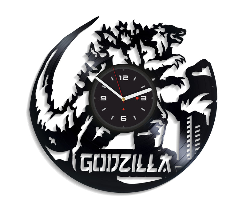 Vinil Clock godzilla, Wall Clock, Vinyl Art, Wall Art, Christmass Gift, Home Decor Clock, godzilla 4214