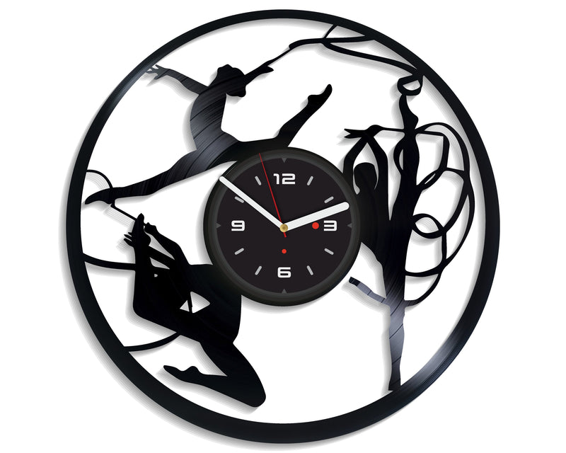 Vinil Clock gymnast, Wall Clock, Vinyl Art, Wall Art, Christmass Gift, Home Decor Clock, gymnast 4249