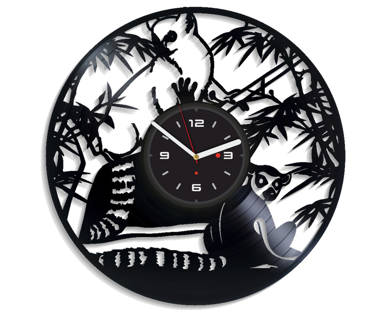 Vinil Clock lemur, Wall Clock, Vinyl Art, Wall Art, Christmass Gift, Home Decor Clock, lemur 4294