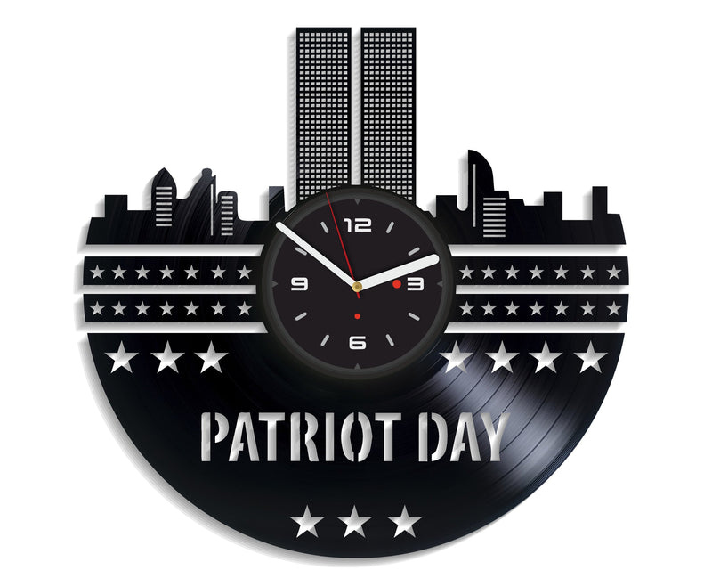 Vinil Clock patriot day, Wall Clock, Vinyl Art, Wall Art, Christmass Gift, Home Decor Clock, patriot day 3161