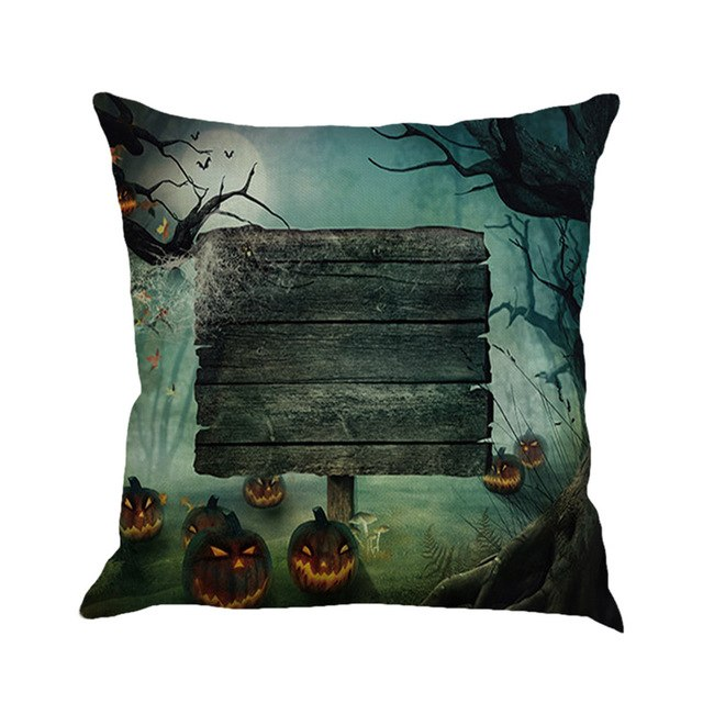 Bats Pumpkin Castle Cushion Cover Halloween Pillow