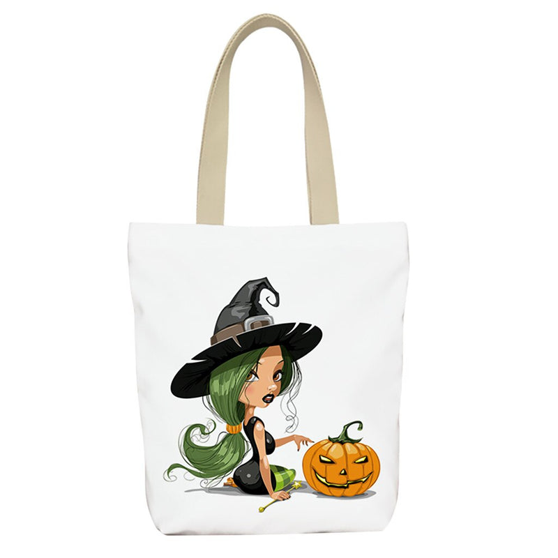 Halloween Women Canvas Handbags Cute Cartoon Pattern Single Totes Shoulder Bag Female Festival Shopping High-Quality Canvas Bags