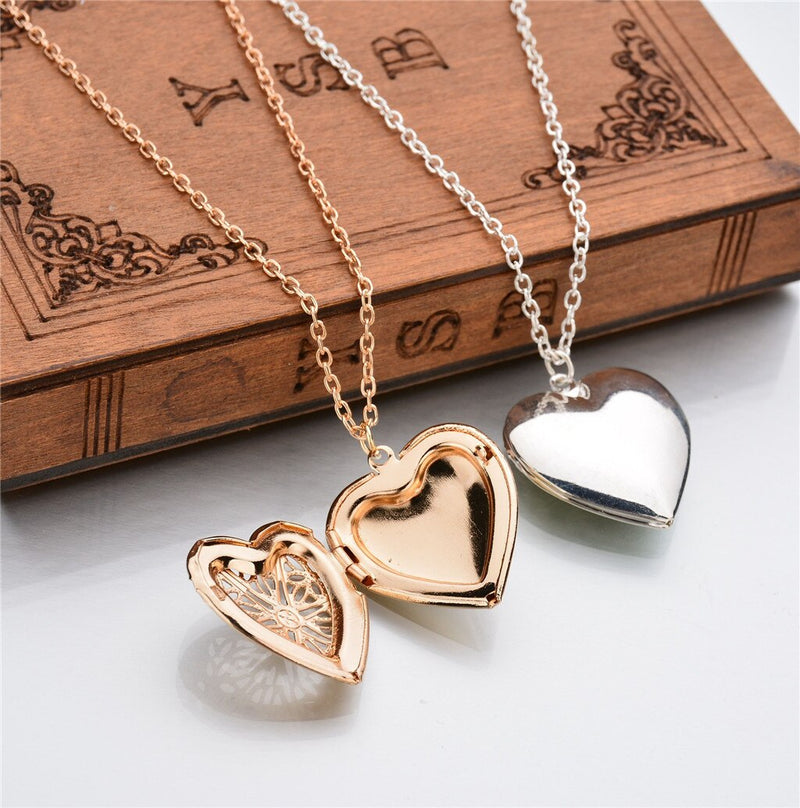 Light Heart Locket Pendants for Women Men Openable Photo Frame Glossy Stainless Steel Necklaces Family Love Collar Jewelry