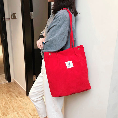 Women Corduroy Zipper Shoulder Bag Cotton Canvas Handbag Casual Tote Female Eco Crossbody Bag Ladies Vintage Messenger Bags