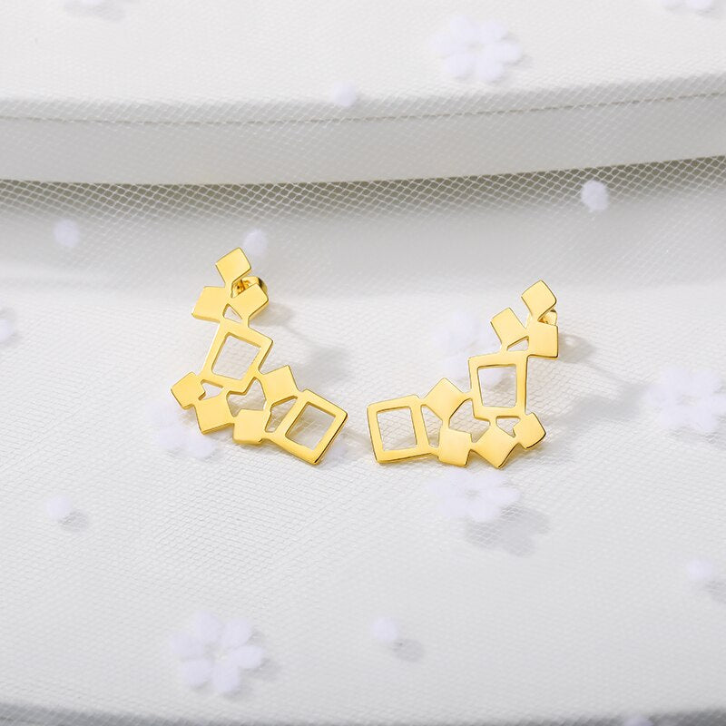 Geometric Small Square Earrings For Women Simple Jewelry Stainless Steel Minimal Earrings