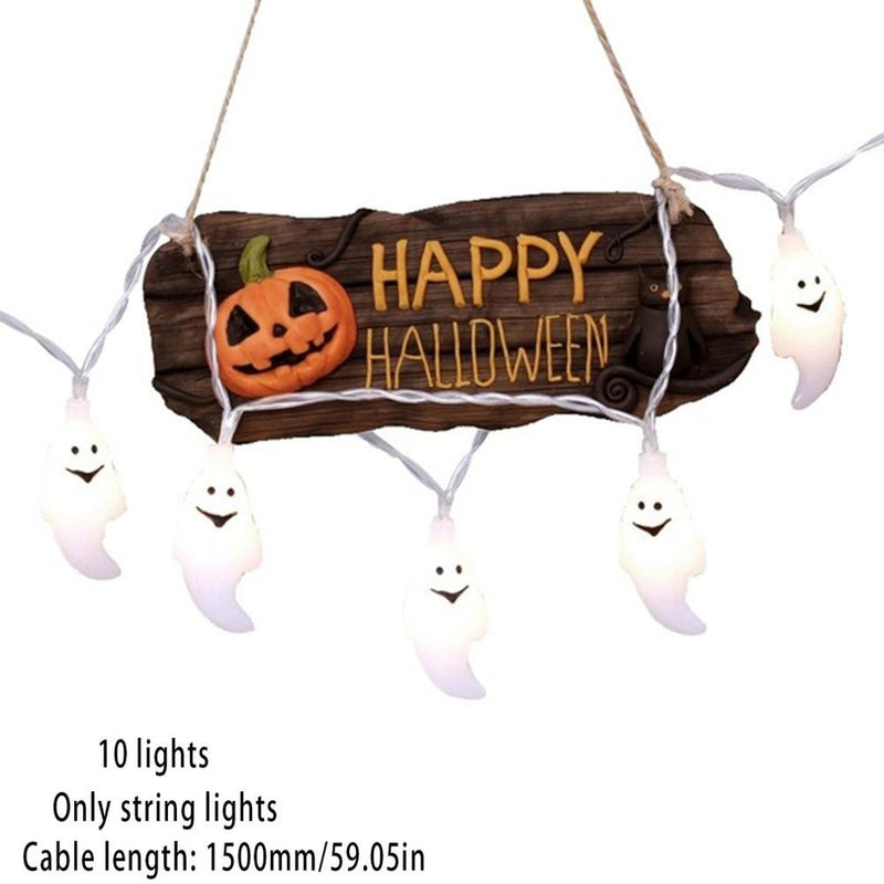 1.5M 10 Lights String Led Halloween Skull Diy Pumpkin Light String Battery Led Garland Halloween Party Decoration