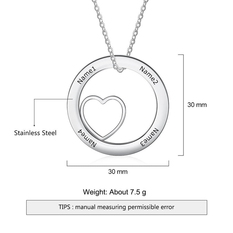 Personalized Name Necklace Round Heart Pendant Necklace Fashion Stainless Steel Necklace Custom Jewelry Gifts