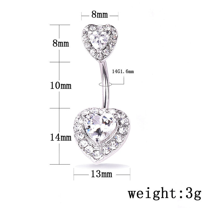 Steel Belly Button Rings Crystal Piercing Navel Heart Style Navel Piercing Earring Belly Piercing Body Jewelry Ombligo