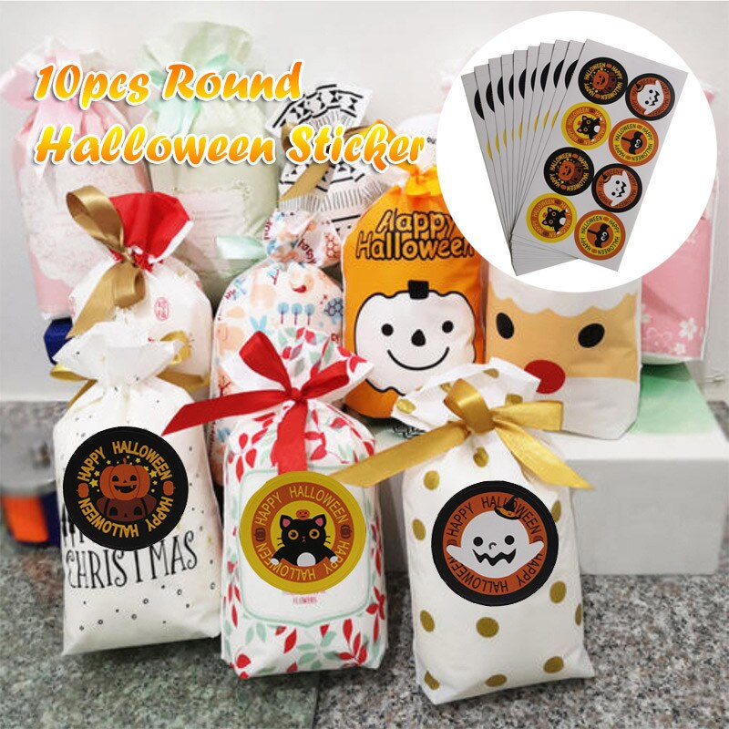 Round Halloween Pumpkin Decoration Sticker Candy Gifts Bag Sealing Sticker 10pcs Halloween Party Favors Candy Seal Labels