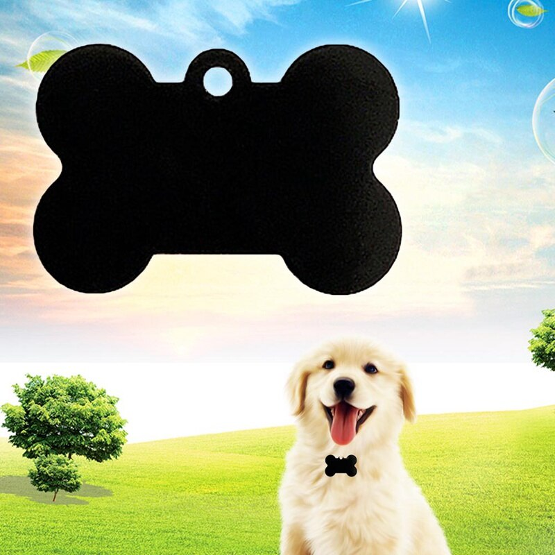 Aluminum Pet ID Tag Bone Shape Double Sided Custom Engraved Dog Cat Pet Name Phone Number ID Tag