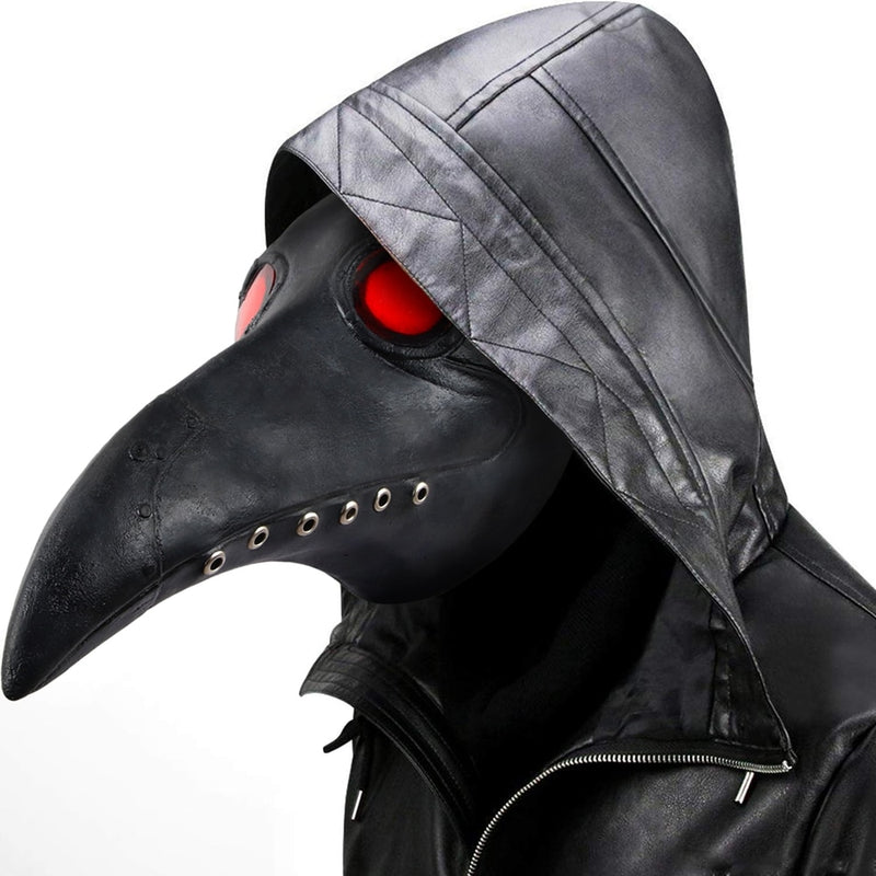 Cosmask Plague Doctor Mask Leather In Black Beak Mask Plague Doctor Halloween Mask Steampunk PU Birds Cosplay Doctour De Peste