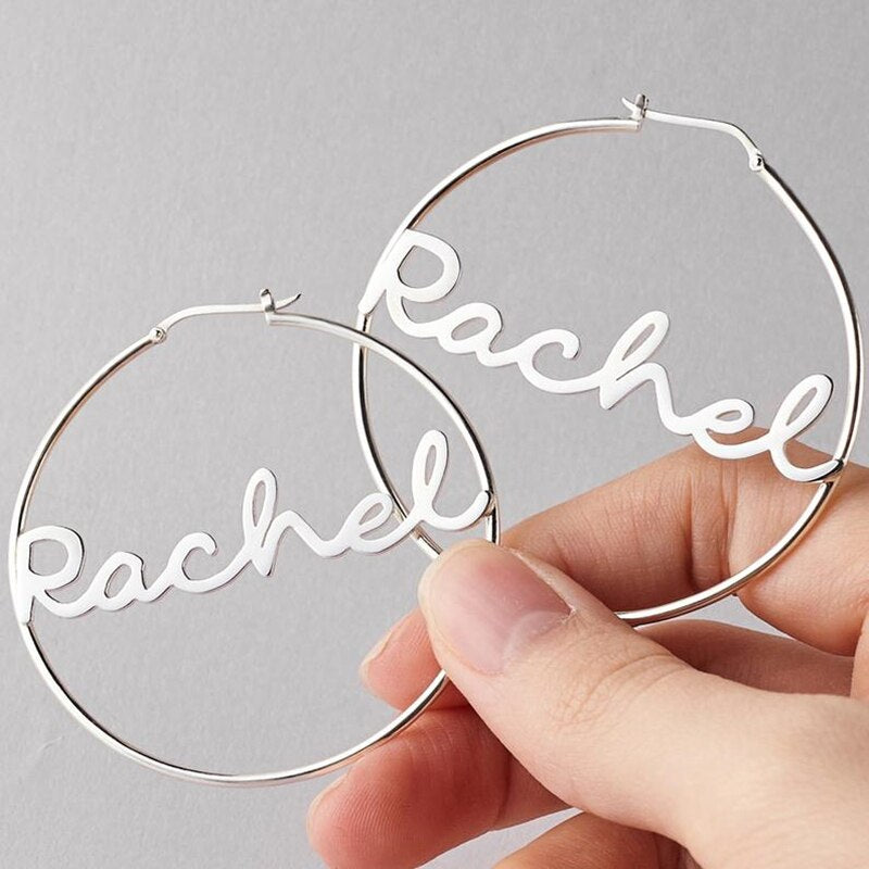 Stainless Steel Custom Name Hoop Earrings For Women Girl Personalized Rose Gold Color Big Circle Name Earrings Fashion Jewelry