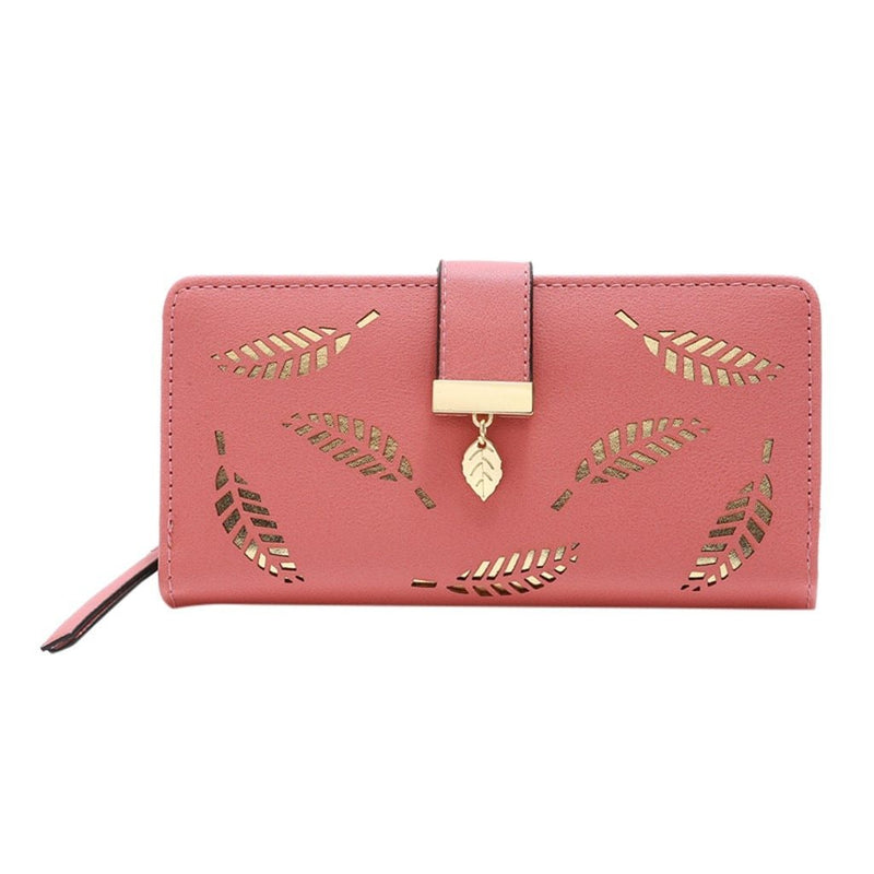 Women's Fashion Trend Solid Color Long Fringed Hollow Leaf PU Leather Card Wallet Purse Zipper Wallet For Girl - EtsySales