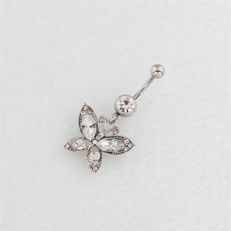 Sexy Rhinestone Butterfly Dangling Navel Belly Button Ring Crystal Surgical Steel Barbell Body Piercing Jewelry Women Accessory