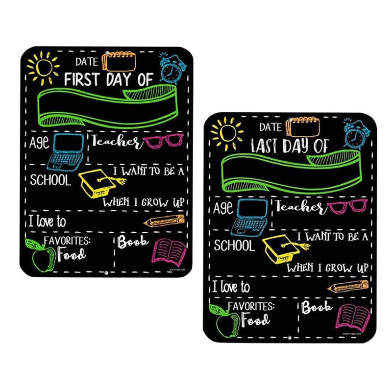 New First Day And Last Day of School 2pc Blackboard Style Props Signage 8''x 12'' Child Birthday Record Sign - EtsySales