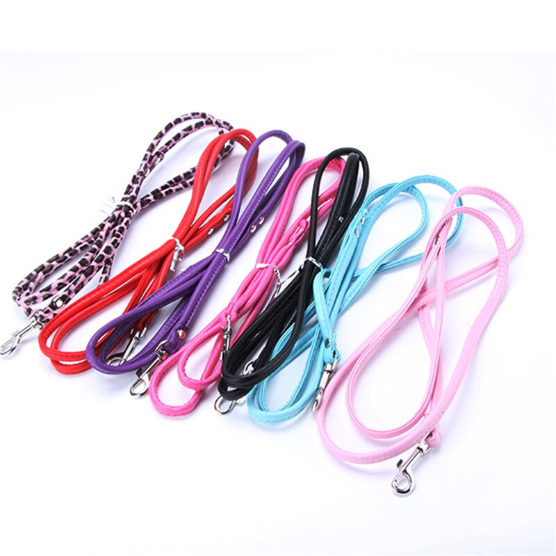 Pet Cat Puppy Dogs Leash Long Smooth PU Leather Leashes Solid Color Dog Walker Dog Girl Boy Basic Leashes