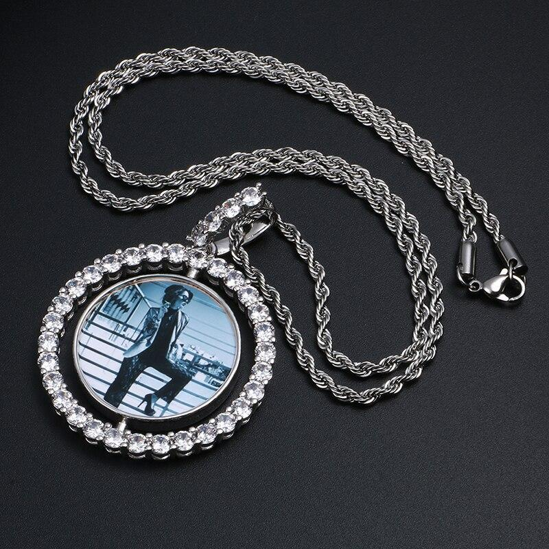 Hot Custom Make Photos Rotating Double-sided Medallions Pendant Necklace Cubic Zircon Tennis Chain For Men's Hip Hop Jewelry - EtsySales
