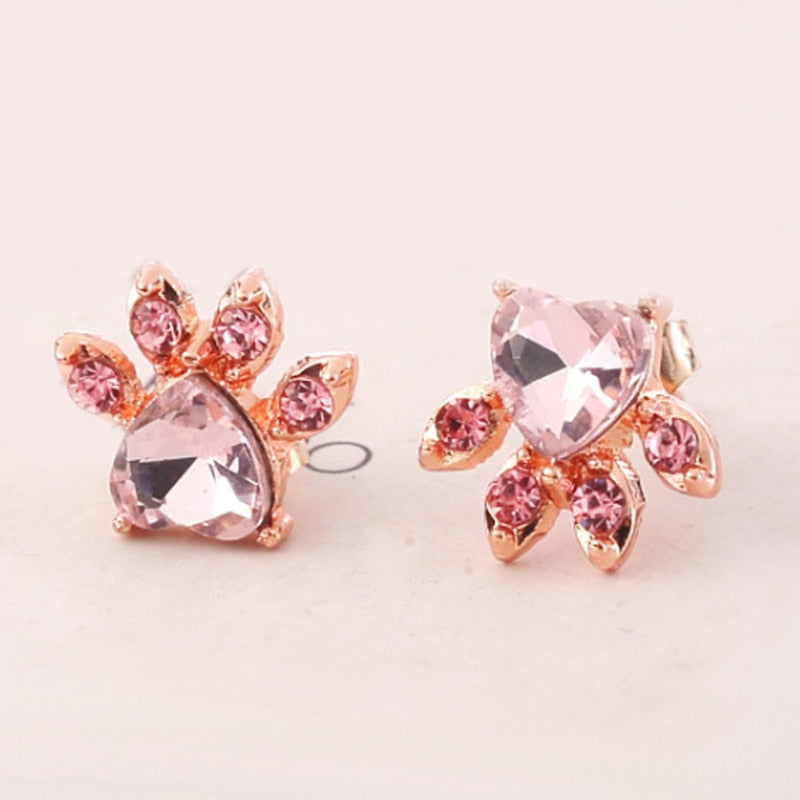 New 1Pair Shiny Crystal Small Animal Stud Earring Rose Golden Cute Earring Dog Paw Print Allergy Free jewelry