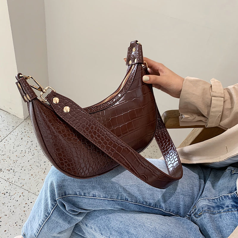 Stone Pattern Retro PU Leather Crossbody Bags For Women Small Shoulder Messenger Bag Women Casual Shoulder Handbags Travel Purse