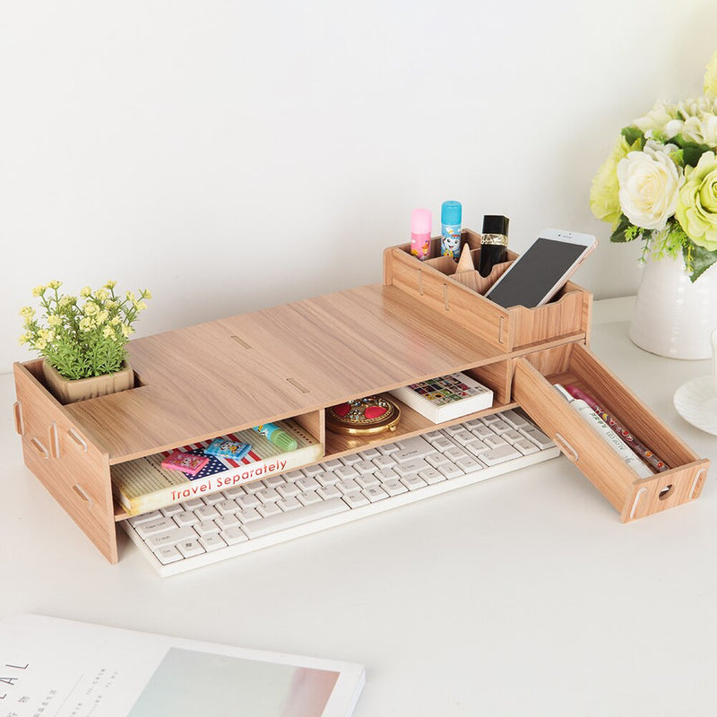 Wooden PC Monitor Riser Stands Desks Organizer Household Bedroom Accessories for iMac Laptop Computer