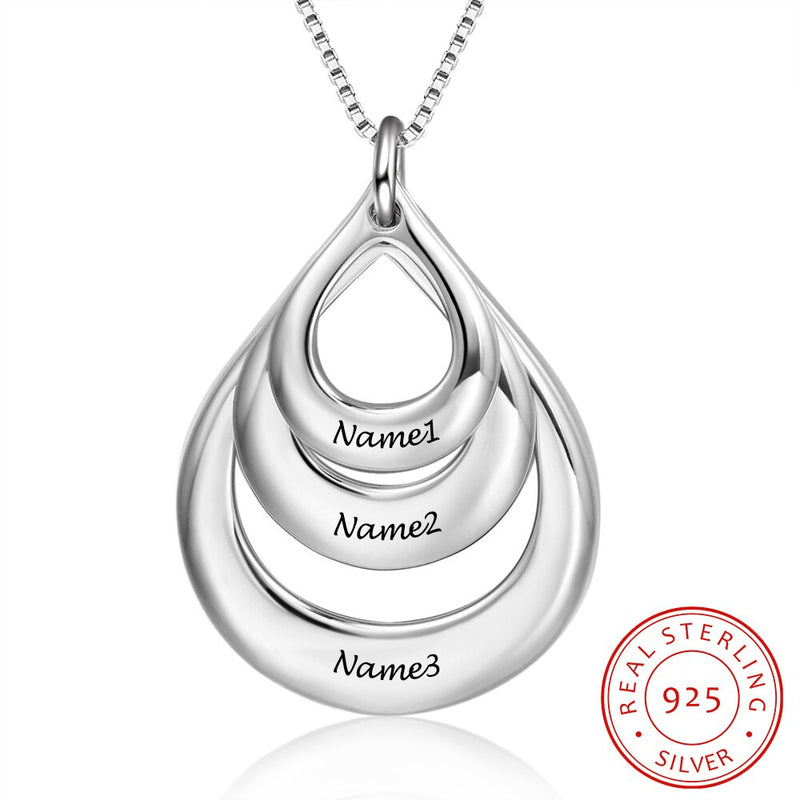 Silver Necklace Personalize Fashion Promised Jewelry Hollow Pendant Engrave 3 Names Anniversary Necklace for Women