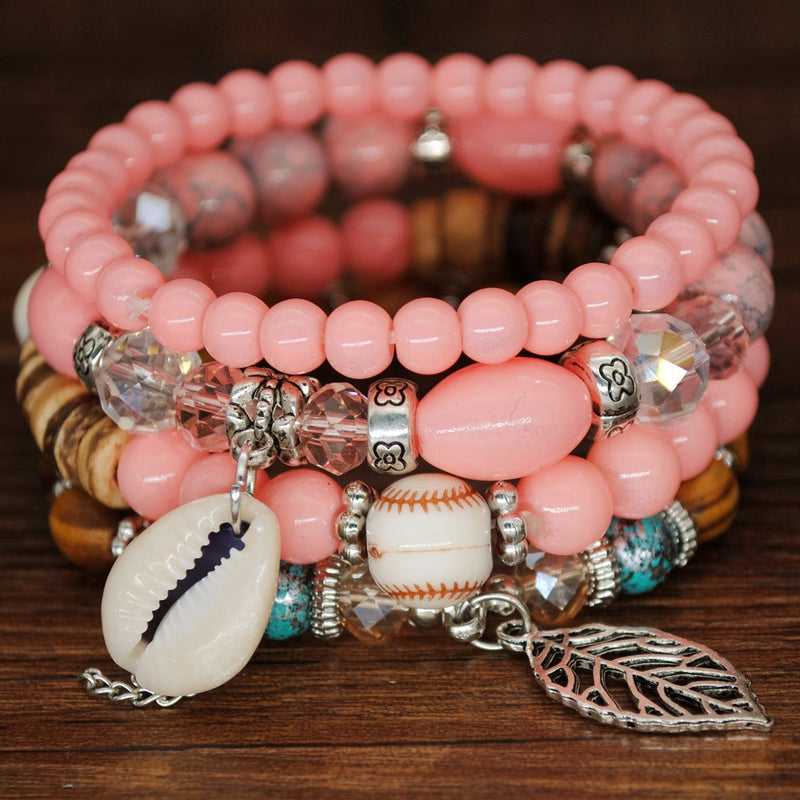 Guvivi Stone Beads Wrap Bracelets For Women Charm Shell Bracelets & Bangles Set Boho Summer Jewelry