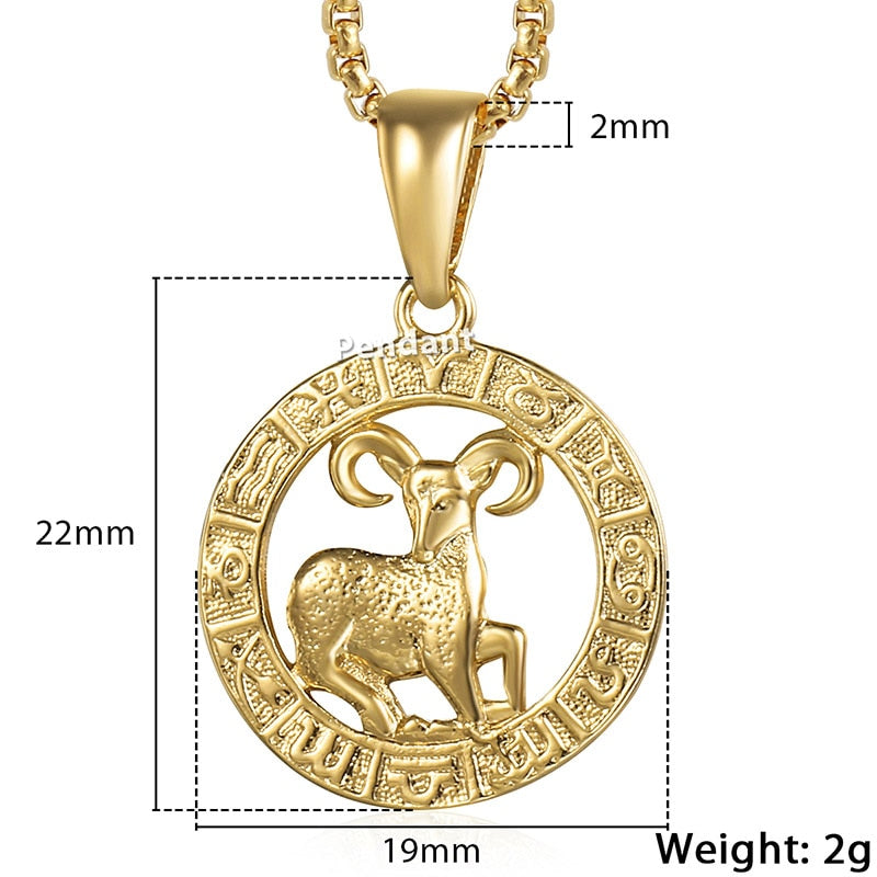 Men's Women's 12 Horoscope Zodiac Sign Gold Pendant Necklace Aries Leo 12 Constellations Jewelry