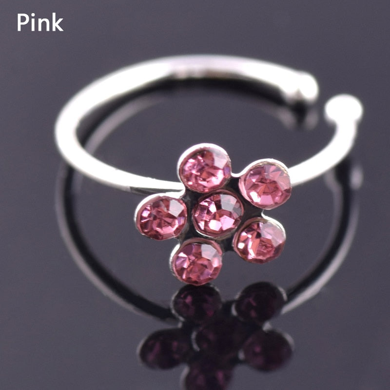 Sale 1PC Trendy Colorful Nostril Stainless Nose Hoop Plum Nose Rings Clip On Nose Ring Fake Piercing Body Jewelry For Women