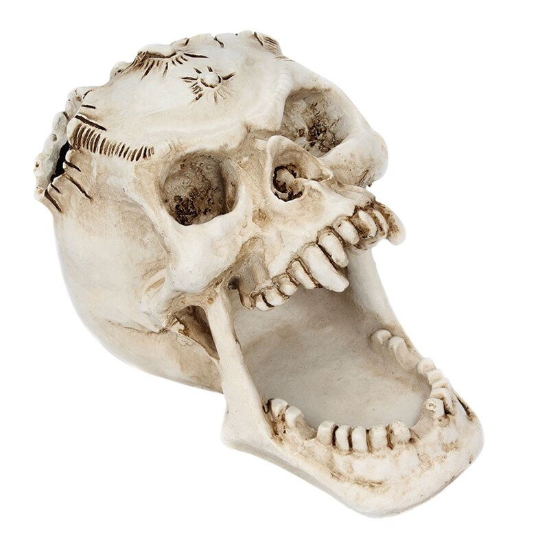 Halloween fangs horror face decoration pen holder storage box ornaments ancient bone skull stationery
