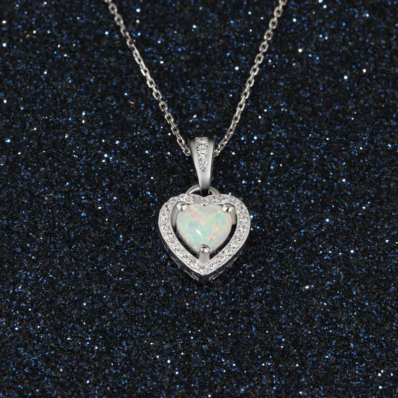 Heart Shape White Pink Blue Opal Necklaces & Pendants with Cubic Zirconia Sterling Silver Jewelry Fine Gift - EtsySales
