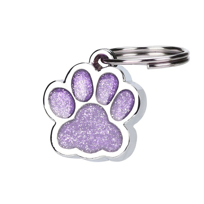 Pet Supply Shiny Glitter Paw Shape Pet Dog Cat ID Tag Keychain with Ring
