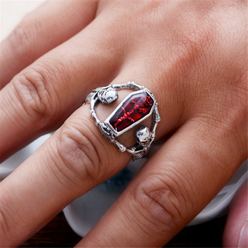 Sunstone Fashion Jewelry Charm Creative Skull Heads Crystal Valentine Gift Ring Crystal Men's Ring