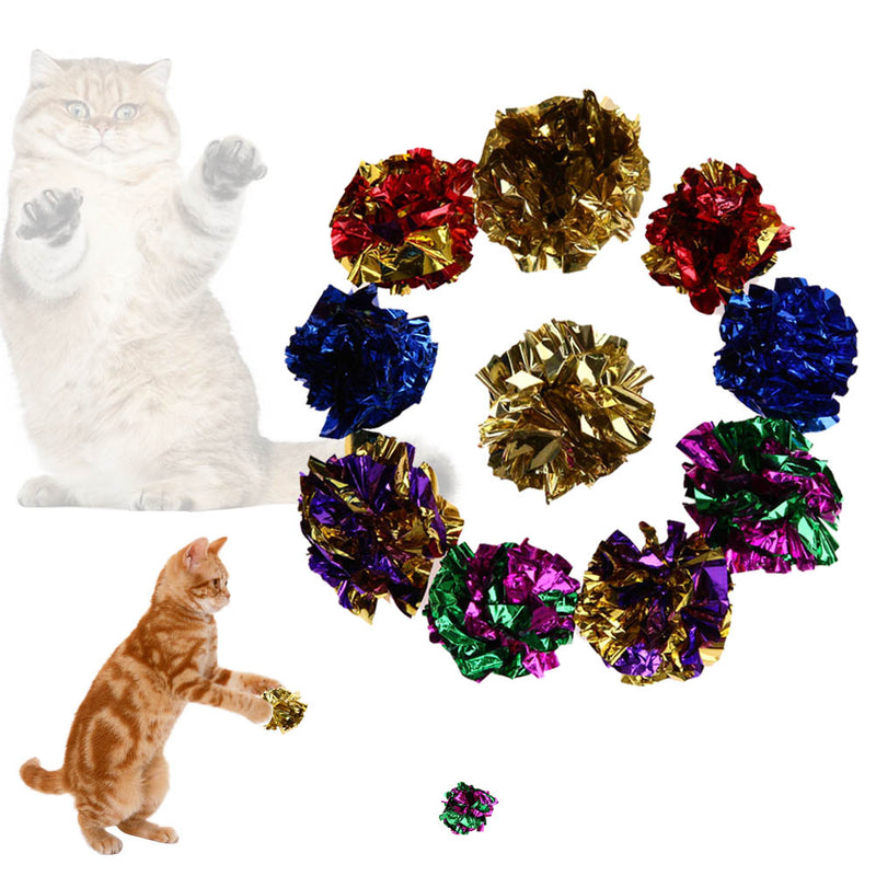 Cat Toys Multicolor Mylar Crinkle Ball Ring Paper Sound Toy for Cat Kitten Playing Interactive Pet Cat Products Supplies