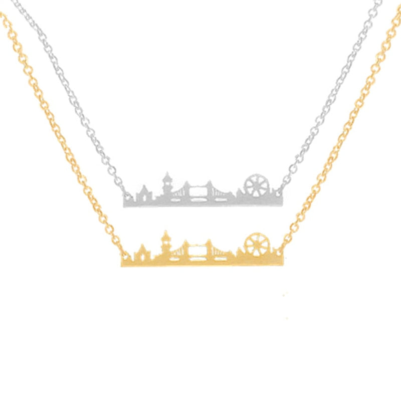 Vintage London Skyline Pendant Necklace Stainless Steel Link Chain Gold Color UK City State Necklaces for Women Ethnic Jewelry