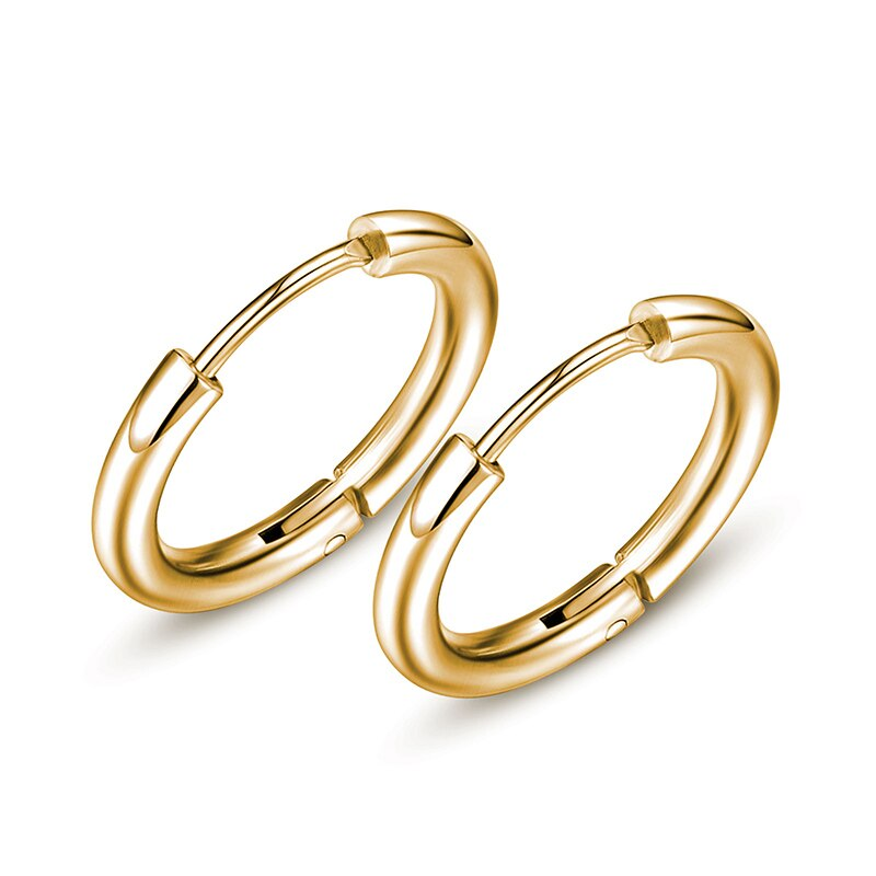 Small Endless Hoop Earrings Stainless Steel Unisex Earrings Silver Color Gold Rose Gold Black 8~20mm Diameter 2mm Thickness