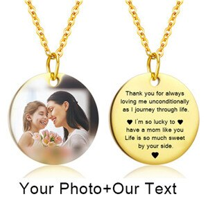 Personalized Dog Tag Pendant Necklace Custom Mom Name Photo Silver Color Engrave Charm Nameplate Necklace for Women Family Gift