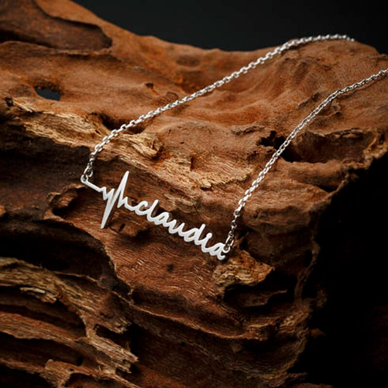 Stainless Steel Custom Personalized Name Choker Handwriting Signature Customized Necklace Charm, Romantic Gif