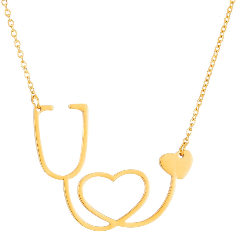 Women's Love Heart Choker Necklace Medical Nurse Stethoscope Necklaces & Pendants for Women/Girl